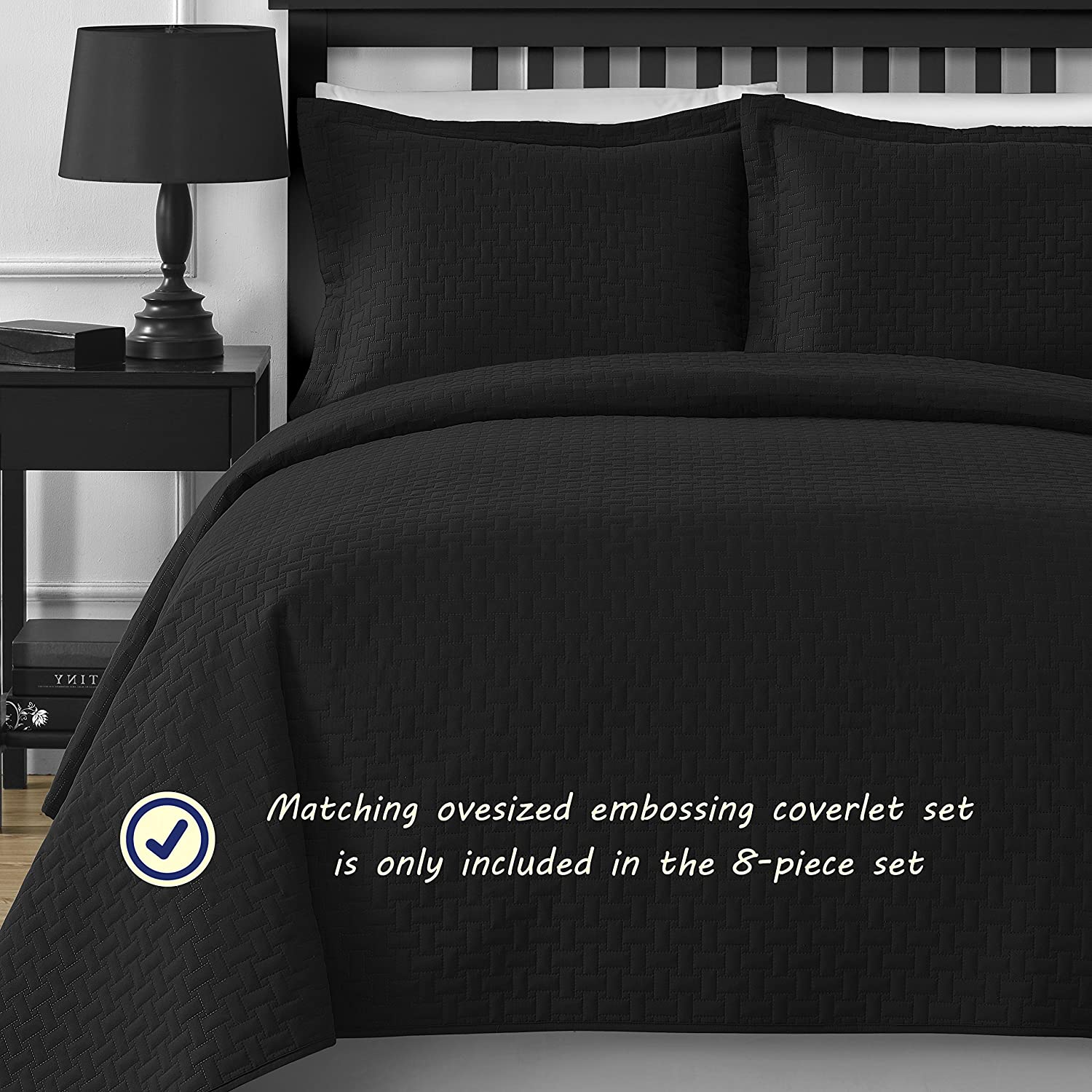 Comfy Bedding Frame Jacquard Microfiber King 5-piece Comforter Set, Black