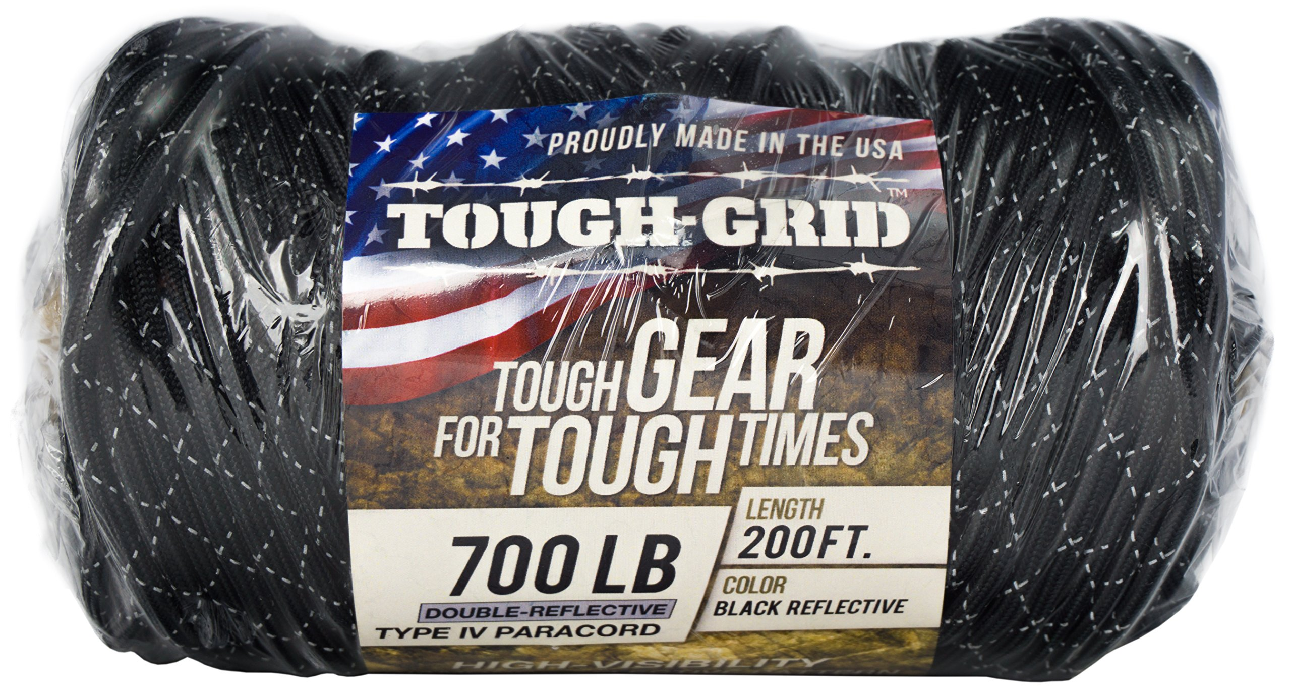 TOUGH-GRID New 700lb Double-Reflective Paracord/Parachute Cord - 2 Vibrant Retro-Reflective Strands for The Ultimate High-Visibility Cord - 100% Nylon - Made in USA. - 500Ft. Black Reflective by TOUGH-GRID (Image #5)