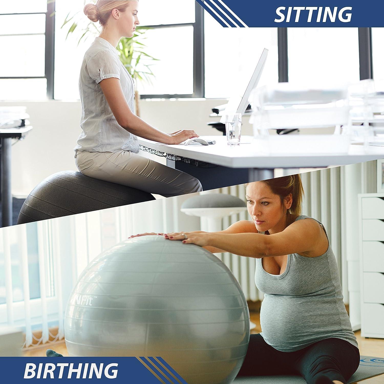 URBNFit Pelota de gimnasio para ejercicio para la estabilidad y la yoga gu/ía del entrenamiento incluida y bomba r/ápida incluida. varios tama/ños y colores