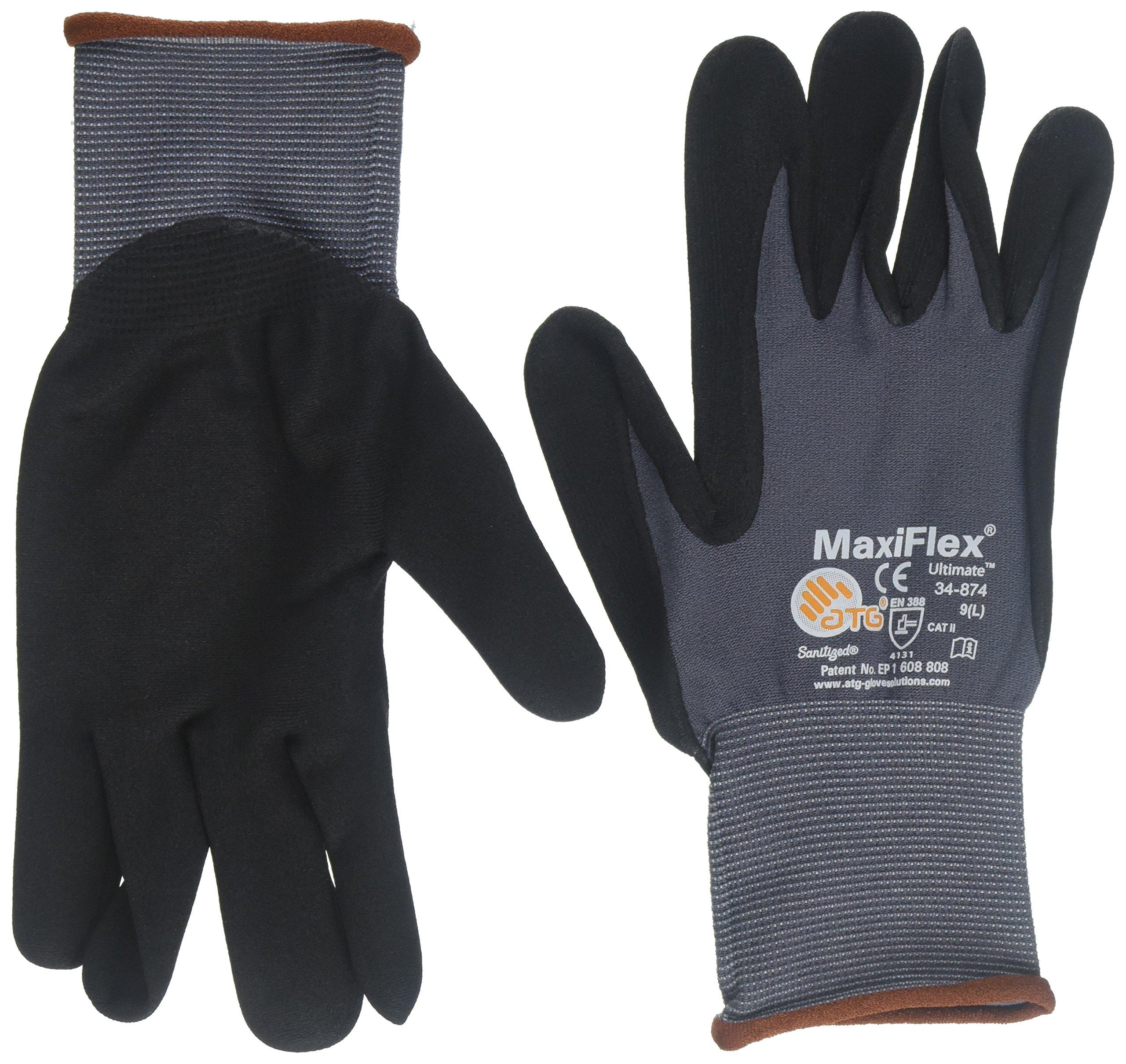 PIP ATG MaxiFlex 34-874 Grey/Black Large Nylon Full Fingered General Purpose Gloves - Nitrile/Nitrile Foam Palm & Fingers Coating - 8.7 in Length - Seamless Knit - 616314-21548 [Price is per Dozen]