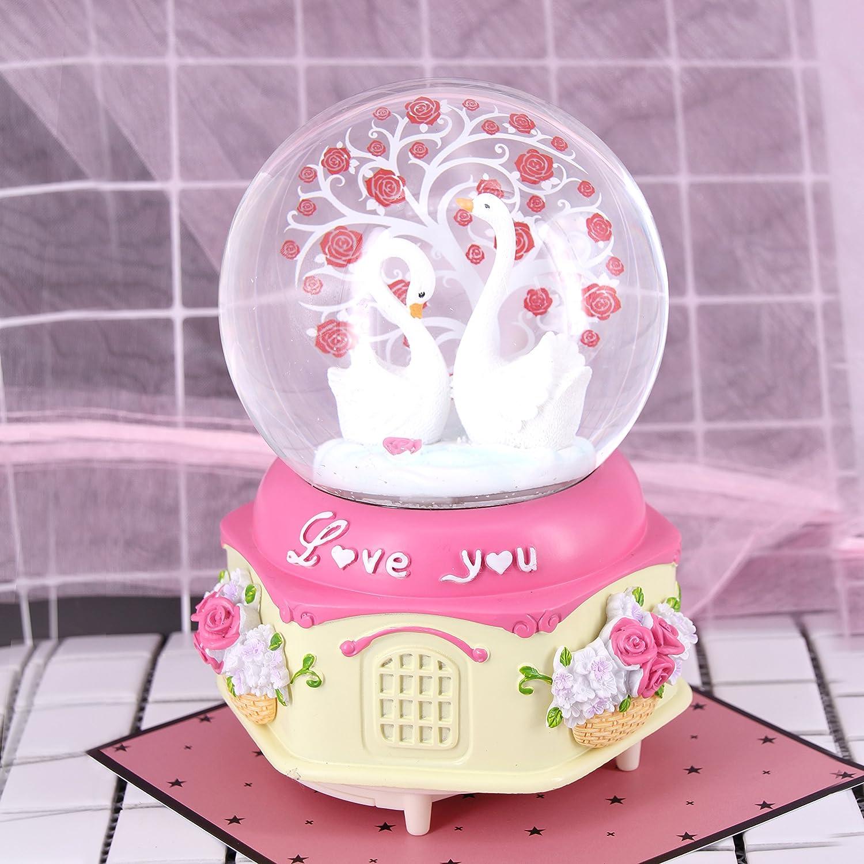 Amazon.com: 100mm Crystal Ball Tree of Life Musical Snow Globes Swan ...