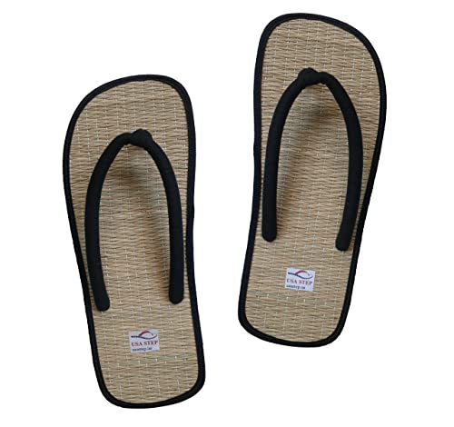 025425b3777fd USA STEP Men Women Handmade Indoor Outdoor House Home Spa Hotel Black Straw  Summer Flip Flops