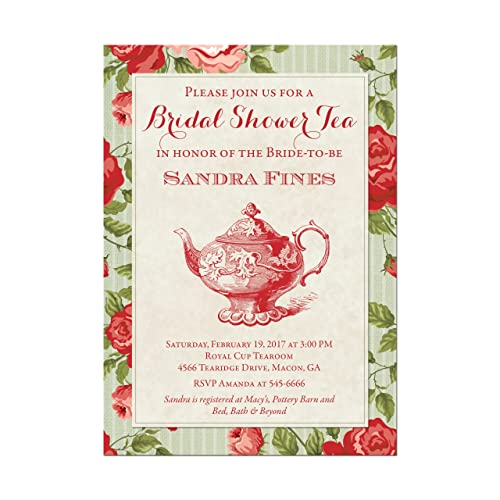 amazon com bridal shower tea party invitations with red roses base
