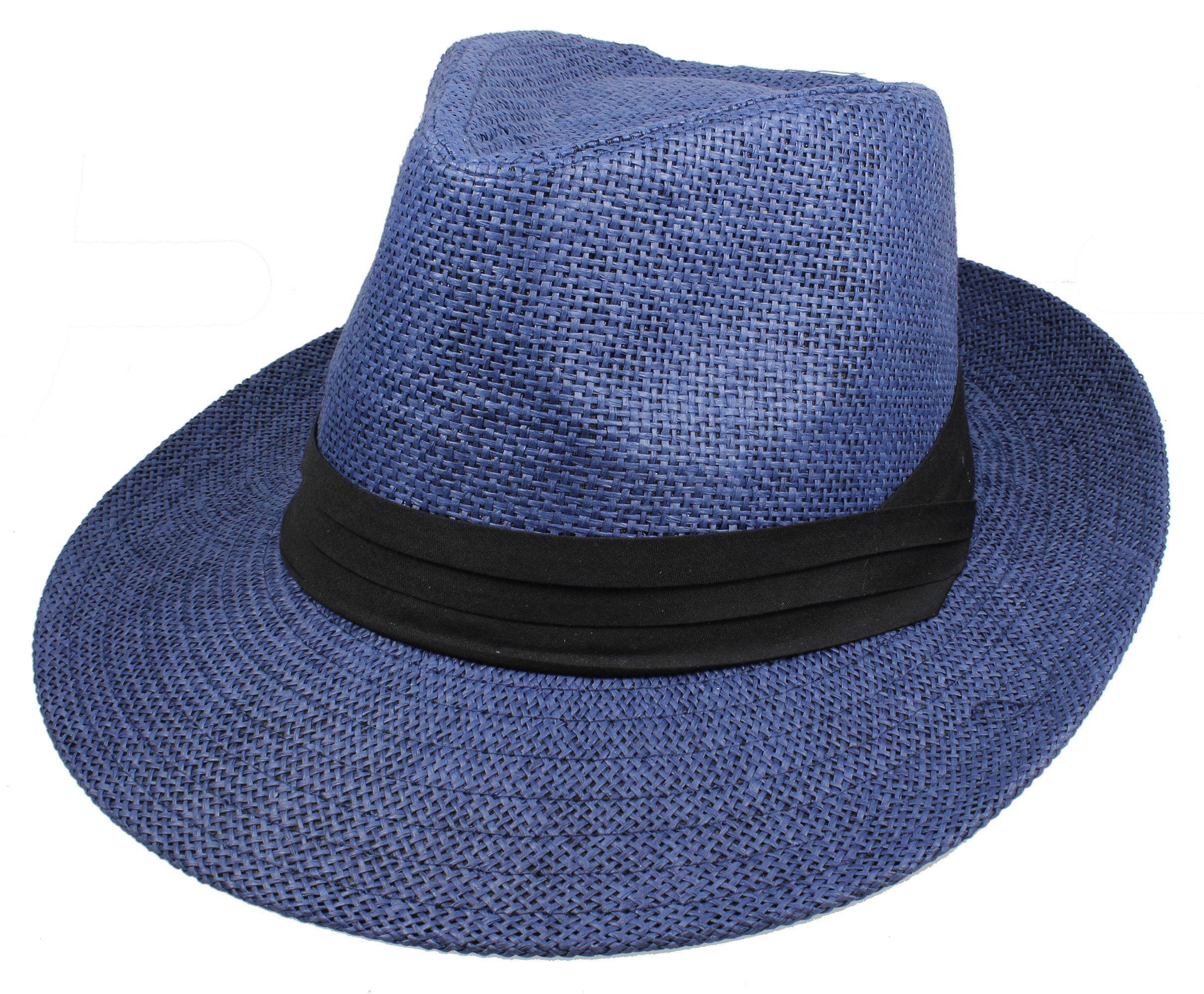 Gelante Wide Brim Summer Fedora Panama Straw Hats with Black Band M255-Navy-L/XL