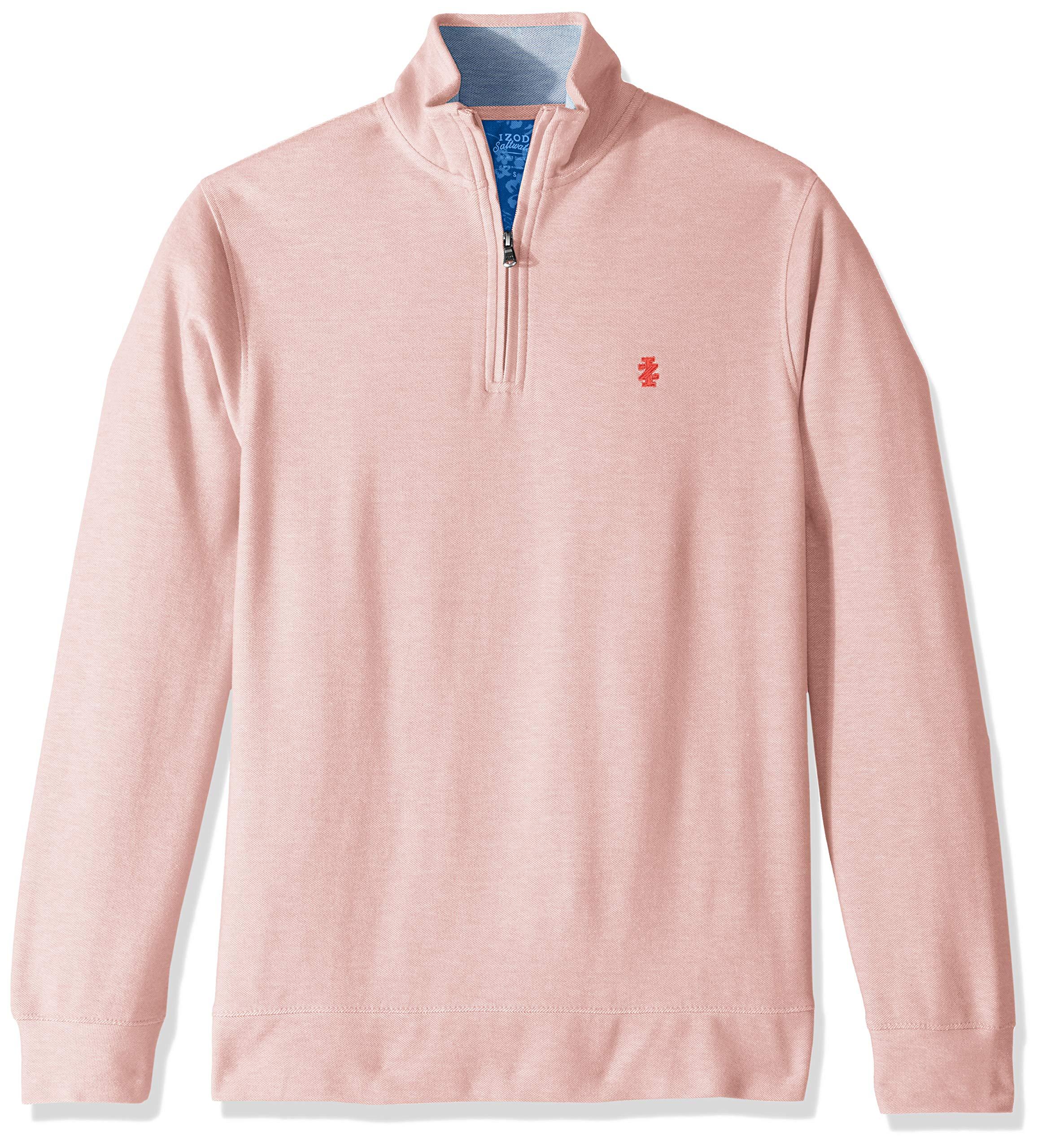 IZOD Men's Saltwater Quarter Zip Pullover, red, X-Large