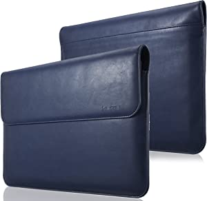 Kuzy - MacBook Pro 13 inch Sleeve Leather, 13 inch Laptop Sleeve Case for MacBook Air 13 inch Sleeve Case Cover (New Version) PU Leather Laptop Sleeve - Navy