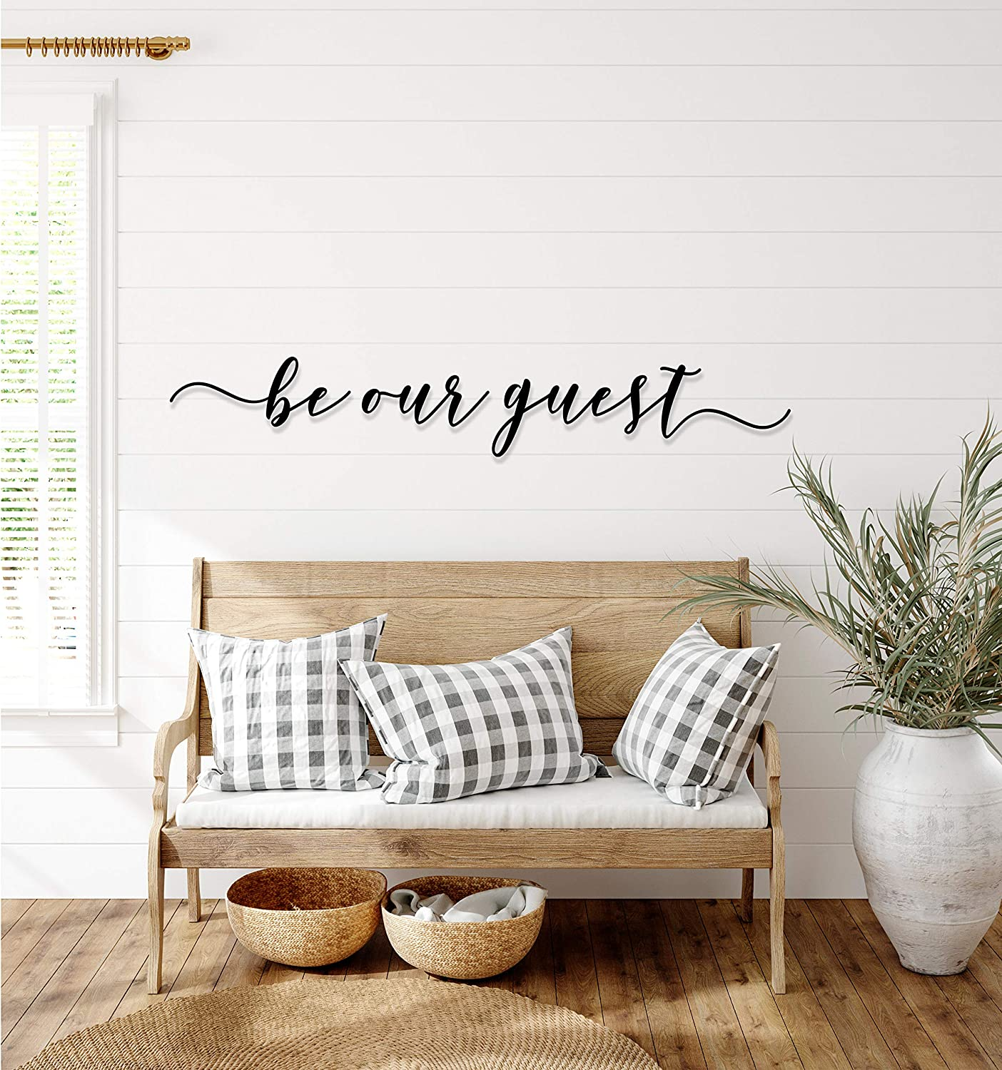 Tamengi Be Our Guest Metal Sign, Large Bedroom Wall Decor Over The Bed, Swedish Farmhouse Decor, Metal Wall Art