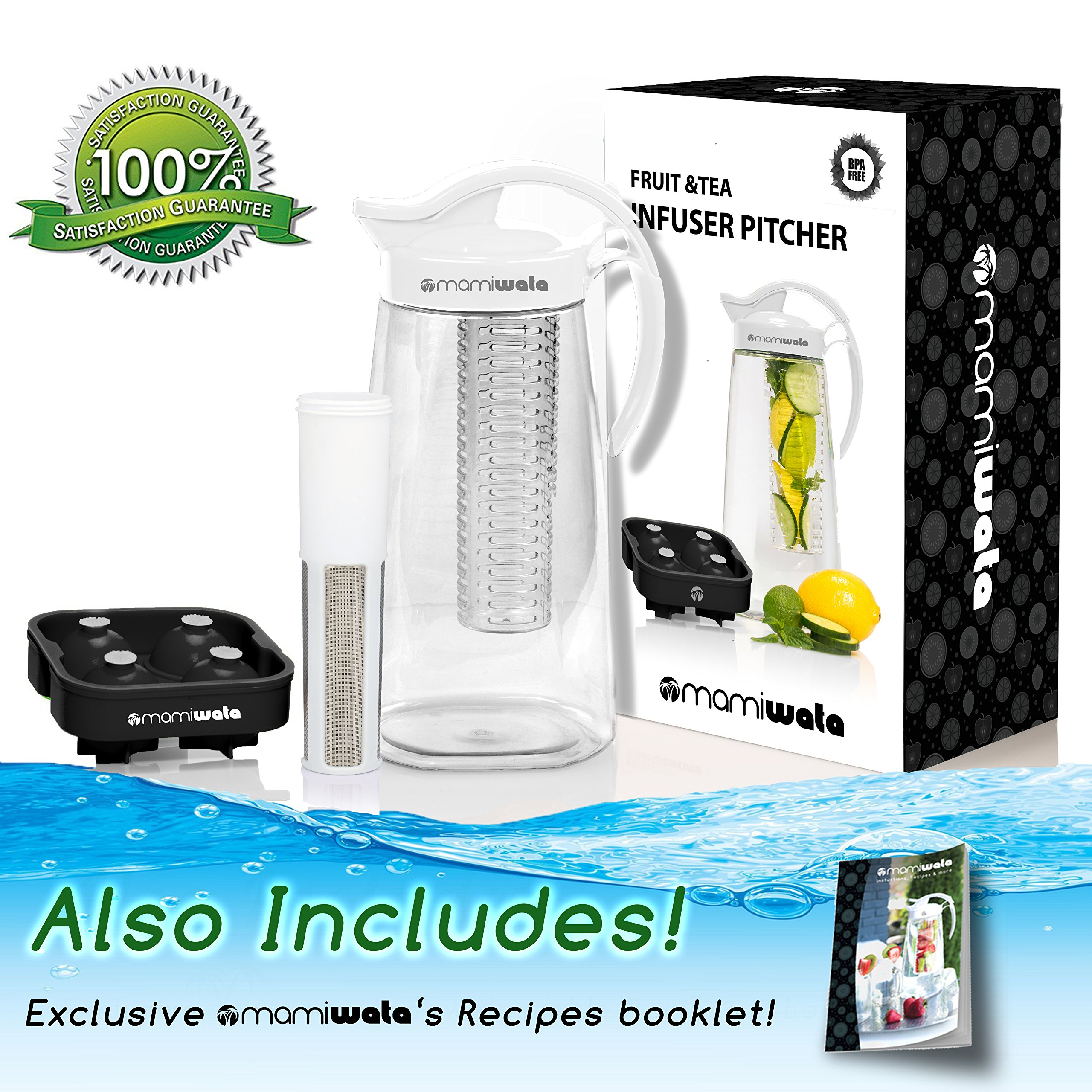 Fruit & Tea Infusion Water Pitcher - The PERFECT Mothers Day Gift - Free Ice Ball Maker - Free Infused Water Recipe Booklet - Includes Shatterproof Jug, Fruit Infuser, and Tea Infuser by MAMI WATA (Image #4)