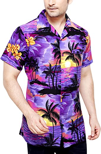 TROPICAL VIBES - Camisa casual - Floral - Clásico - Manga corta - para hombre