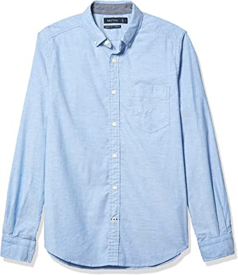 Nautica Mens Oxford Solid Long Sleeve Button Down Shirt Camisa Abotonada, Azul Claro francés, L para Hombre: Amazon.es: Ropa y accesorios