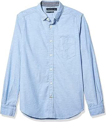 Nautica Mens Oxford Solid Long Sleeve Button Down Shirt ...