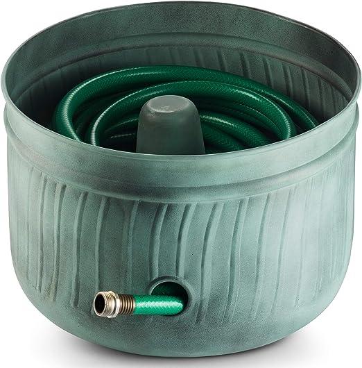 Lifesmart Garden Hose Storage Holder Pot Blue Green Finish Lid Included Amazon Co Uk Garden Outdoors