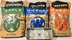 Western Perfect BBQ Smoking Wood Chips Variety Pack - Bundle (3) - Most Popular Flavors - Apple, Hickory & Mesquite w/Free Genuine Red Eye Smoker Chip Tray and Cool Sticker