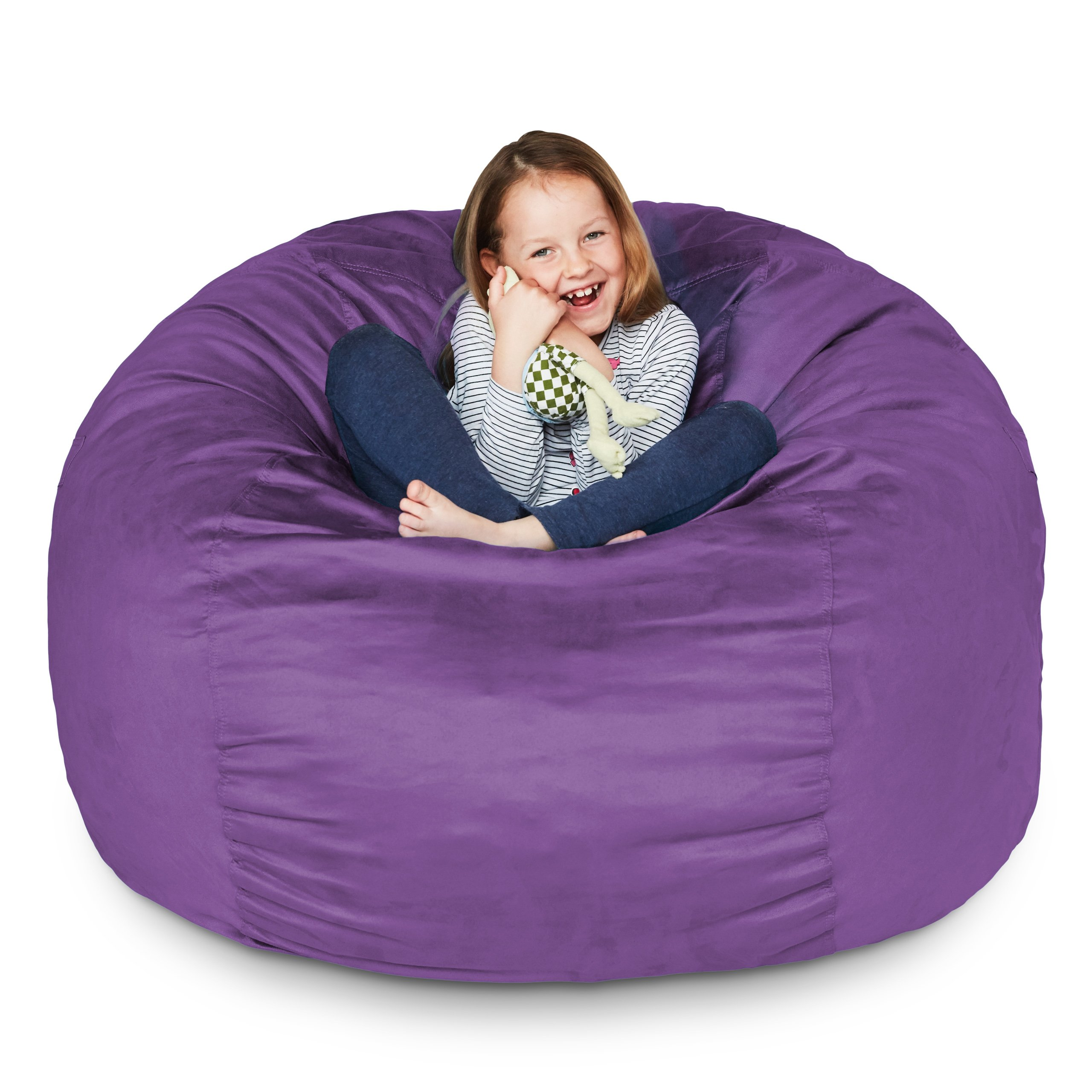 Lumaland Luxury 3-Foot Bean Bag Chair with Microsuede Cover Purple, Machine Washable Big Size Sofa and Giant Lounger Furniture for Kids, Teens and Adults