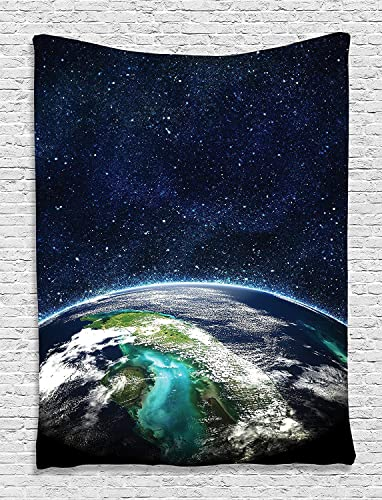Ambesonne Outer Space Tapestry, Galaxy Themed Nebula Earth and Stars Universe Panorama Illustration Print, Wall Hanging for Bedroom Living Room Dorm Decor, 40 X 60 , Dark Blue
