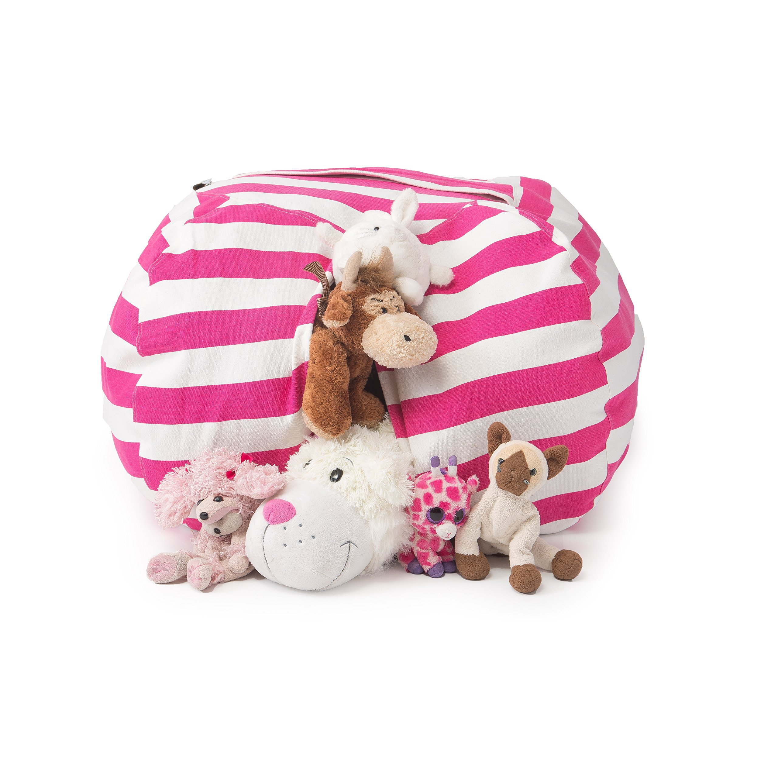 T-Bugs Best Stuffed Animal Storage Bean Bag Chair, Premium Cotton Canvas Toy Organizer for Kids Bedroom, Perfect Storage Solution for Plush Toys, Blankets, Towels & Clothes (38'', Pink/White Stripes)