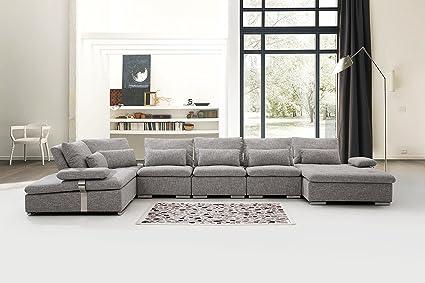 US Livings Mira Modern Living Room Fabric 6 Piece Modular Sofa Set 6 Wolf Grey