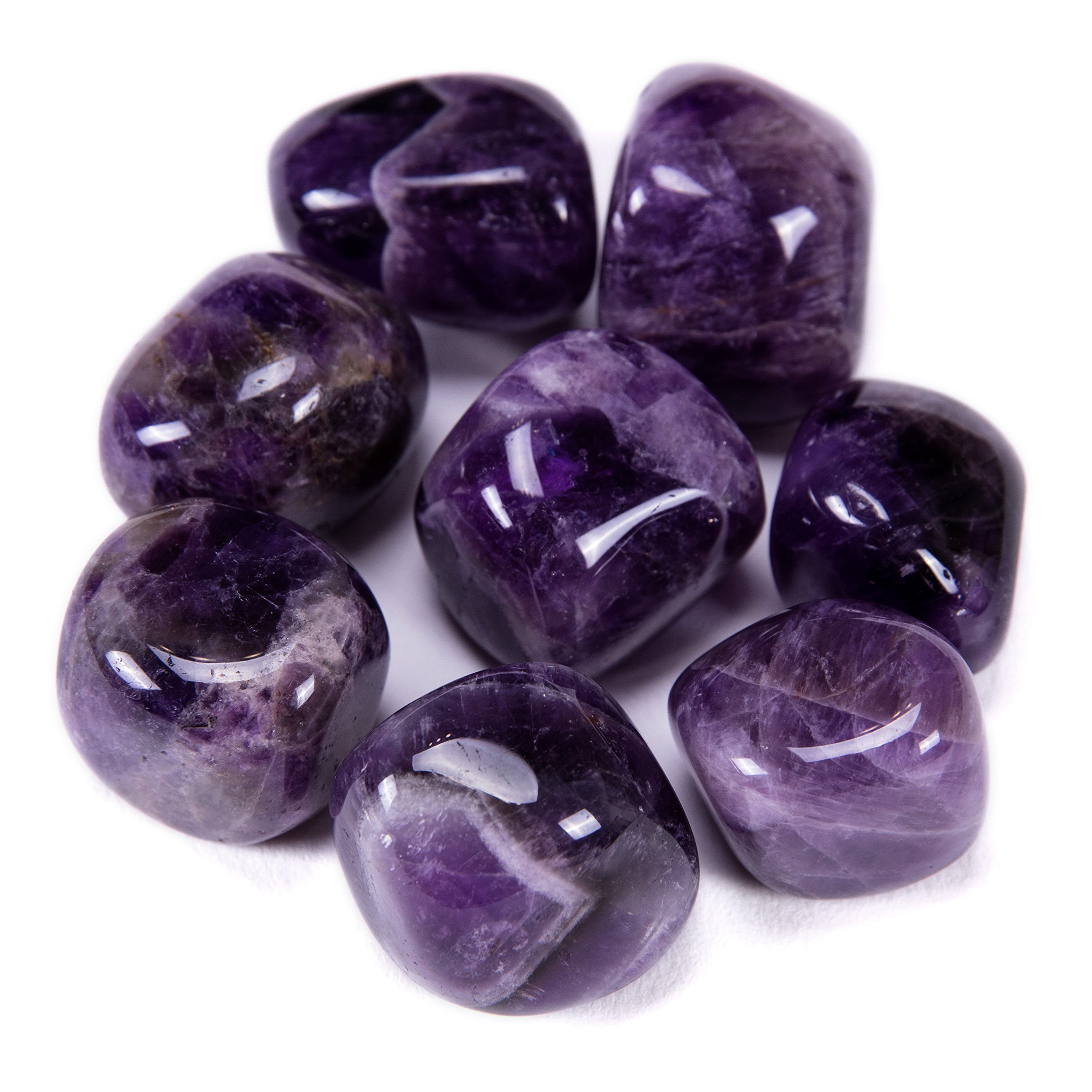 Bingcute Brazilian Tumbled Polished Natural Amethyst Stones 1/2 Ib For Wicca, Reiki, and Energy Crystal Healing (Amethyst) by Bingcute