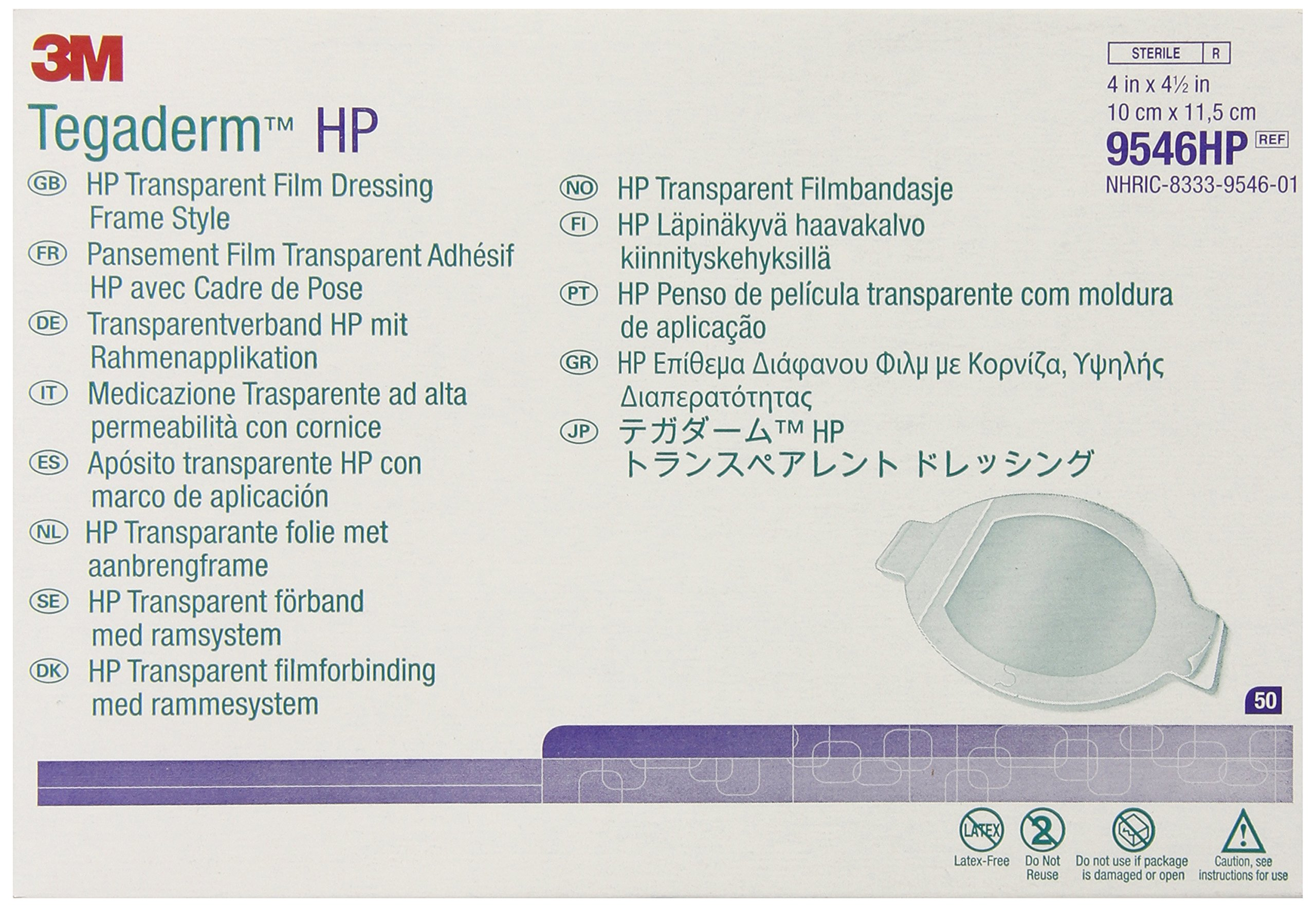 3M Tegaderm HP Transparent Film Dressing Frame Style 9546HP, 50 Pads (Pack of 4) by 3M