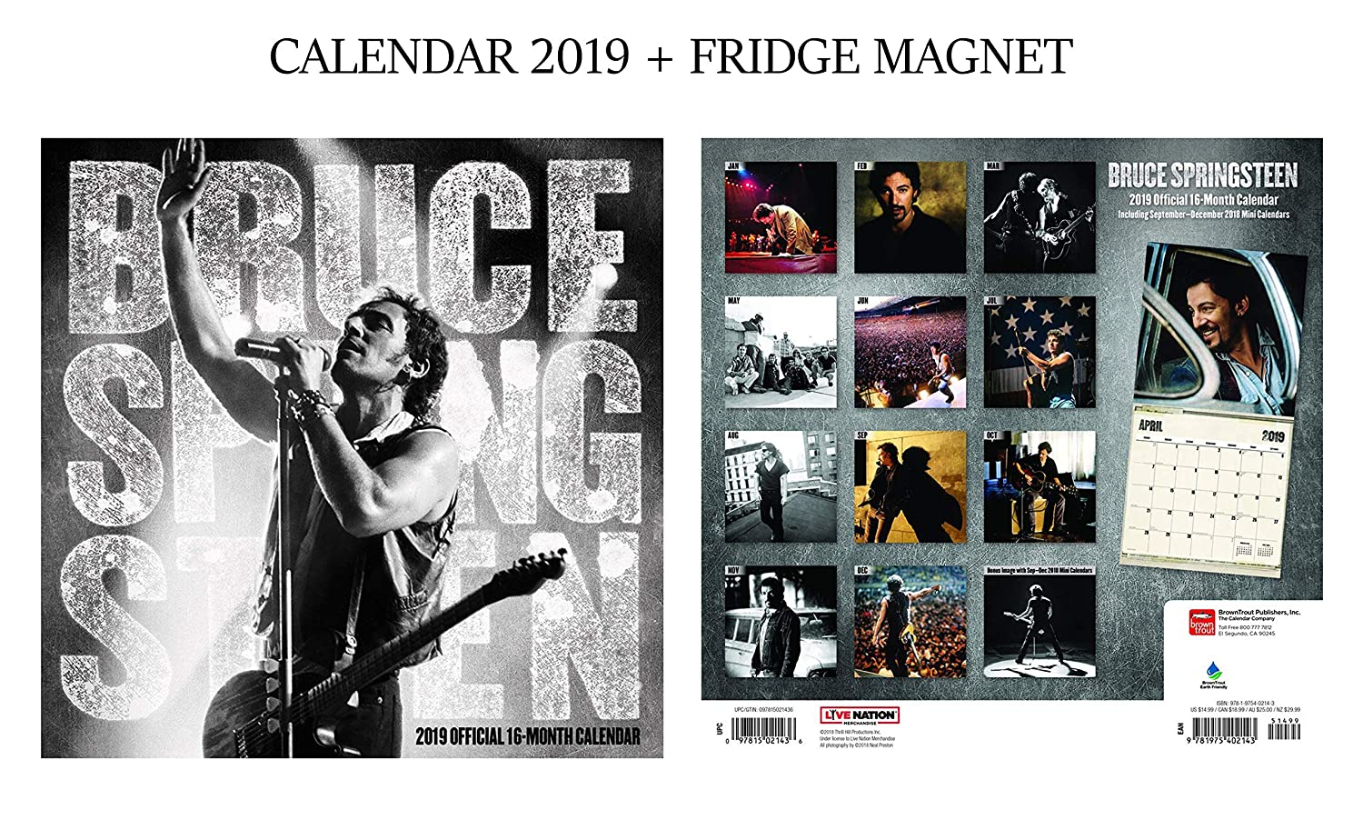 Bruce Springsteen Official Calendar 2019 + Bruce Springsteen Fridge Magnet GIFTSCITY