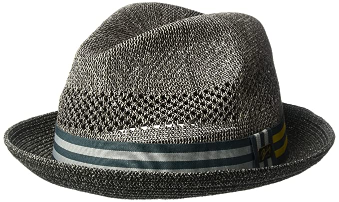 f4573ce332a Bailey of Hollywood Men s Berle Fedora Trilby Hat with Striped Band  Charcoal S