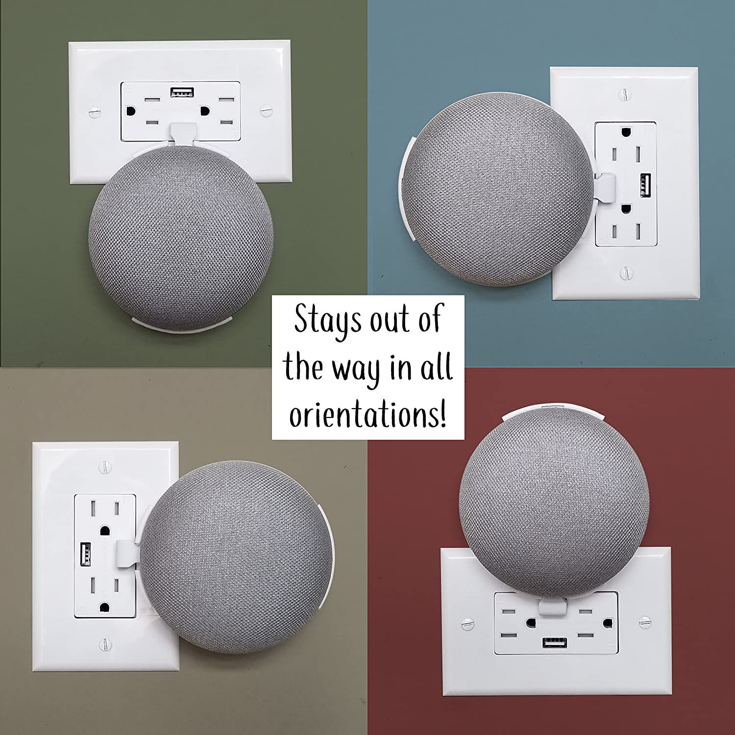 The Usb Cover Plate Mount For Google Home Mini Custom Enclosure Wiring Devices Patents On Wire A Three Way Outlet Built In Holder And Wall Designed Usa By Genie White