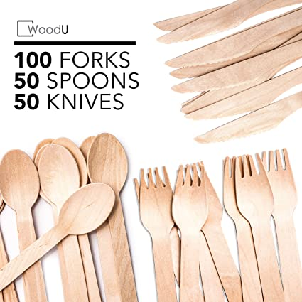 Disposable Wooden Cutlery Set WoodU Utensils All-Natural, Eco-Friendly,  Biodegradable, and Compostable Taking Steps for a Greener Tomorrow! (200