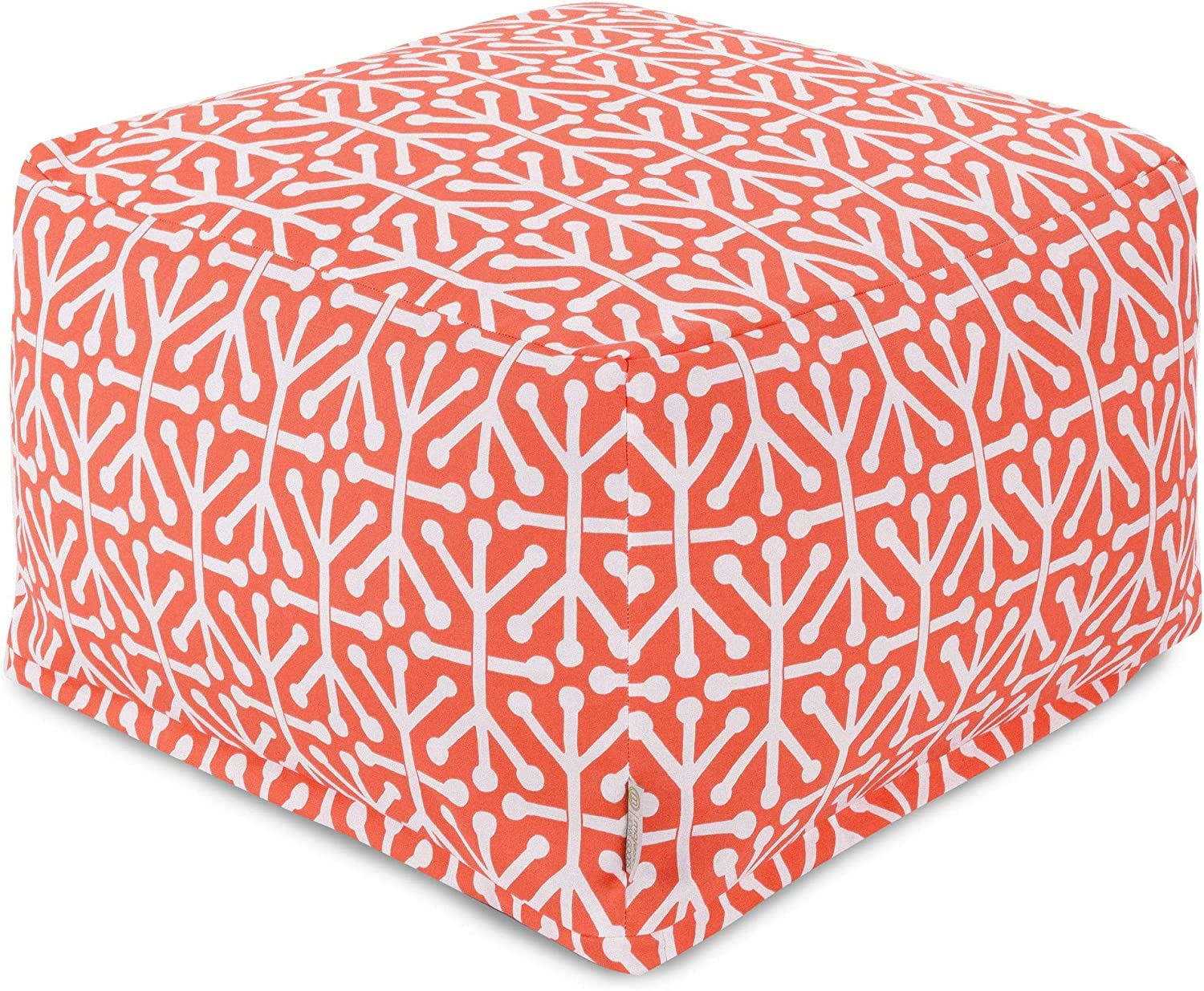 Majestic Home Goods Aruba Ottoman, Large, Orange