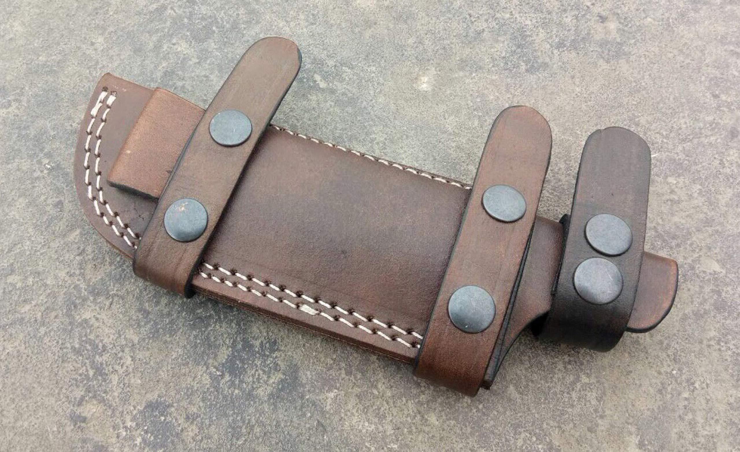 Ottoza Custom Handmade Dark Brown Right Hand Leather Knife Sheath for Tracker Knife - Bushcraft Knife - Hunting Knife - Survival Knife - Skinning Knife Horizontal Scout / Cow - Buffalo Leather No:39   by Ottoza