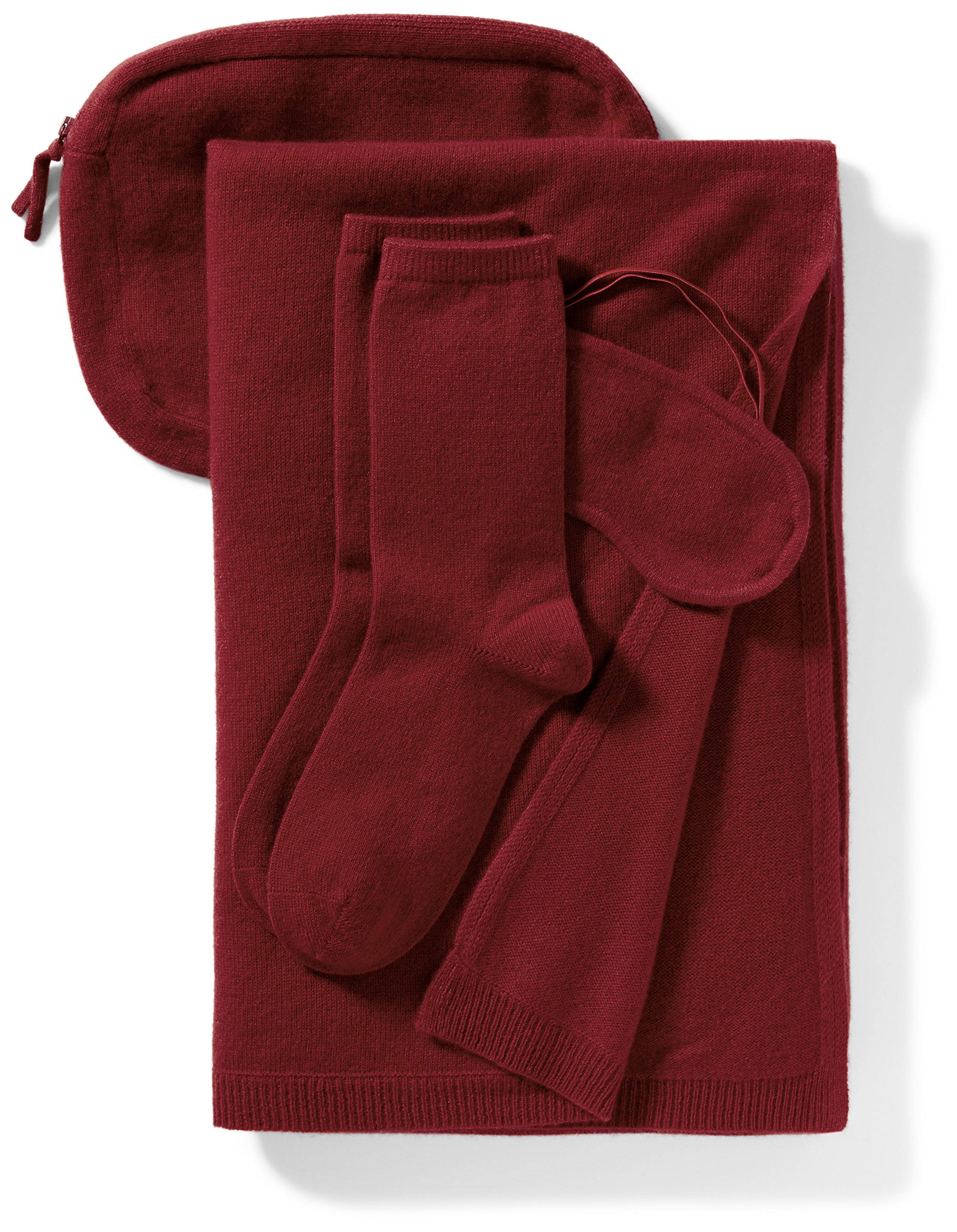 Lark & Ro Women's 100% Cashmere Travel Set, Red, One Size