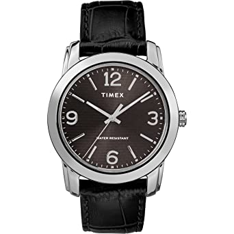 Amazon.com: Timex Mens TW2R86600 Basics 39mm Black/Silver-Tone Croco Pattern Leather Strap Watch: Watches