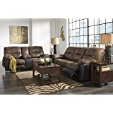 Follett Contemporary Coffee Color Faux leather Reclining Sofa And Loveseat w/Console