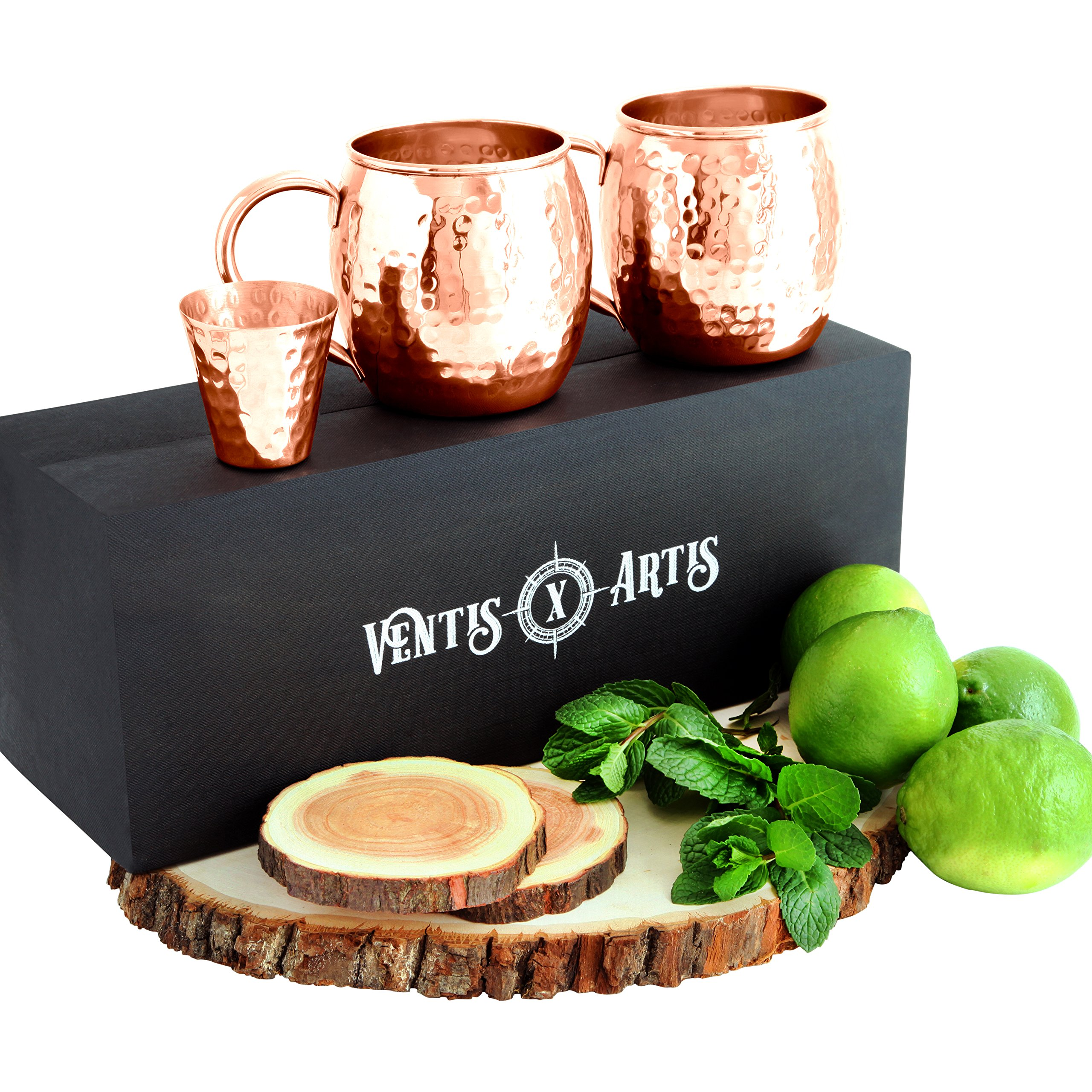 NEW! Trendy Handcrafted Moscow Mule Copper Mug Gift Set INCLUDING Copper Jigger, Beautiful Black Satin Box And Artisan 2x Saguan Teak Wood Handcrafted Coasters