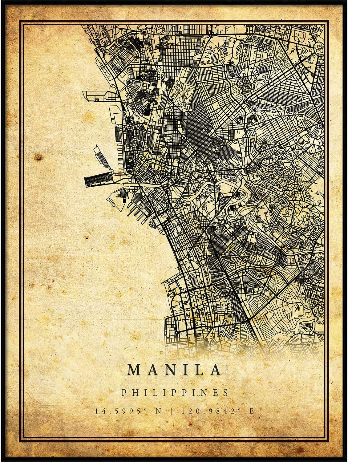Manila map Vintage Style Poster Print | Old City Artwork Prints | Antique Style Home Decor | Philippines Wall Art Gift | map Painting 11x14