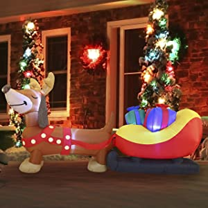 Joiedomi Christmas Inflatable Decoration 8 FT Christmas Puppy Inflatable with Build-in LEDs Blow Up Inflatables for Xmas Party Indoor, Outdoor, Yard, Garden, Lawn Winter Decor.