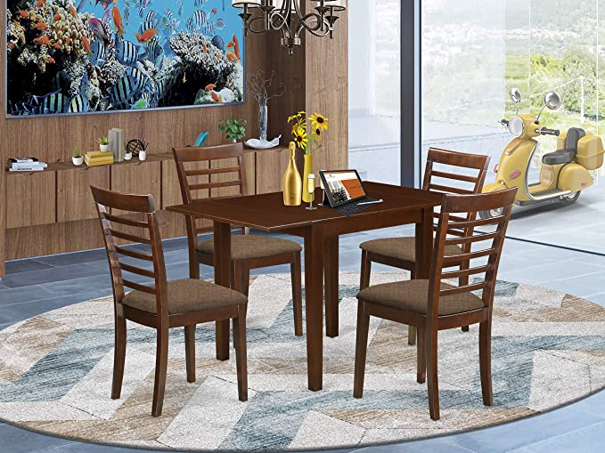 5 Pc Counter Height Dining Set Gathering Table And 4 Counter Height Chairs Table Chair Sets Amazon Com