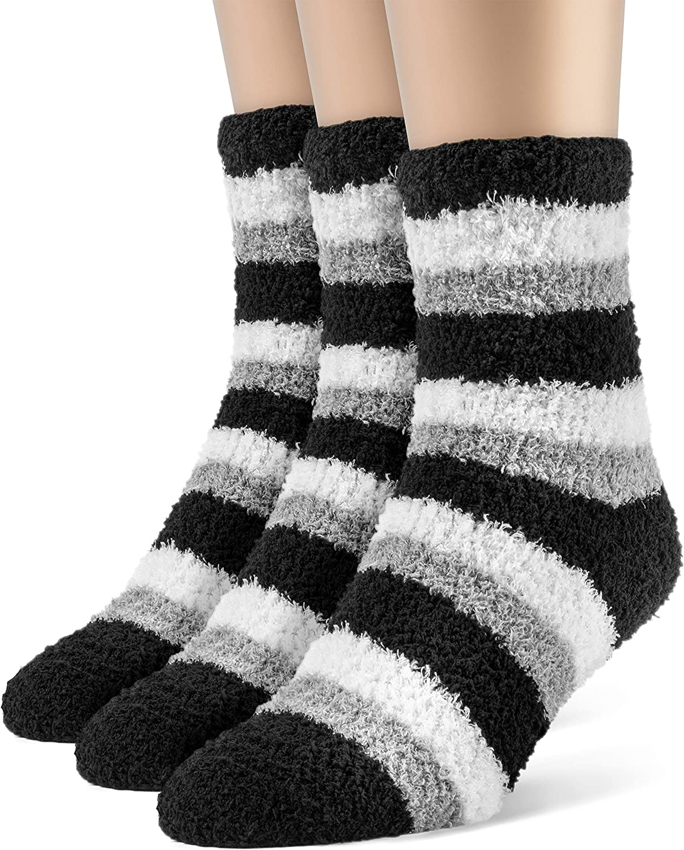 Medium 3 Pairs ChanPell Womens Striped Fuzzy Quarter Plush Socks Grey