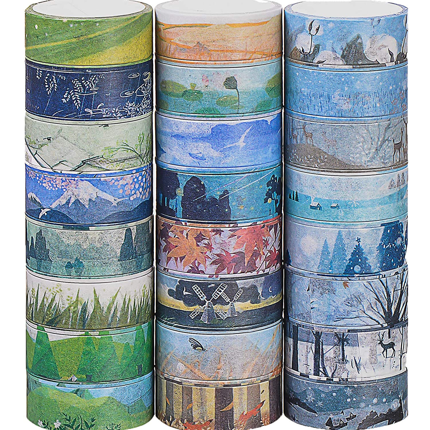 24 Rolls Decorative Washi Tape,Different Styles Masking Adhesive Tape for Scrapbooking IEVAMALL EUR