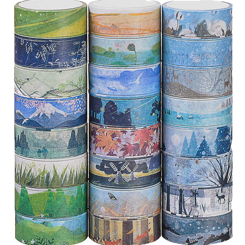 24 rouleaux de d/écoratifs Washi Tape diff/érents Styles de masquage ruban adh/ésif pour le scrapbooking
