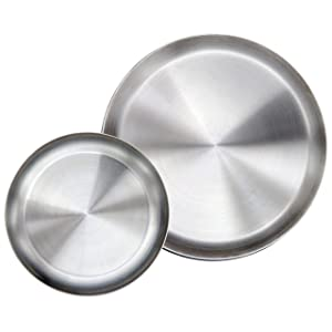 "Immokaz Matte Polished 10.0 inch 304 Stainless Steel Round Plates Dish Set, for Dinner Plate, Camping Outdoor Plate, BPA Free, Pack of 2 (L (10.0""))"