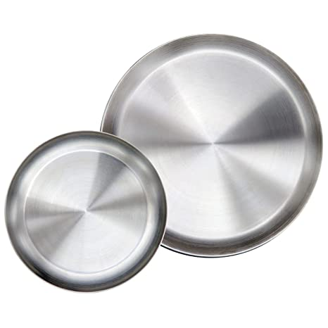 Immokaz Matte Polished 10.0 inch 304 Stainless Steel Round Plates Dish Set for Dinner Plate  sc 1 st  Amazon.com & Amazon.com | Immokaz Matte Polished 10.0 inch 304 Stainless Steel ...