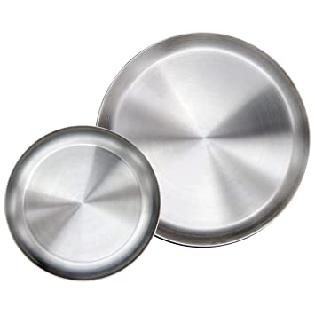 Immokaz Matte Polished 100 Inch 304 Stainless Steel Round Plates Dish Set For Dinner Plate