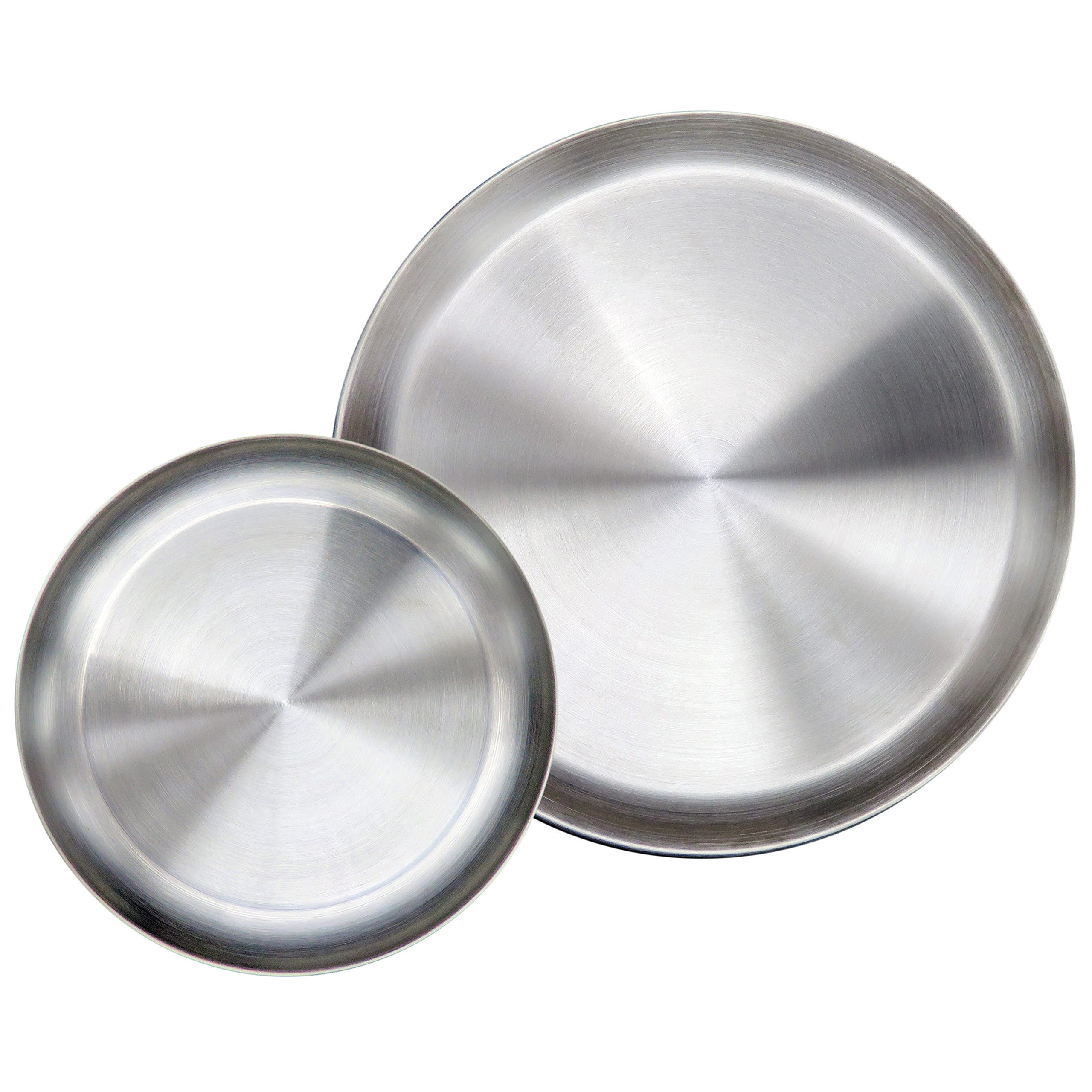 Immokaz Matte Polished 10.0 inch 304 Stainless Steel Round Plates Dish Set, for Dinner Plate, Camping Outdoor Plate, BPA Free, Pack of 2 (L (10.0''))