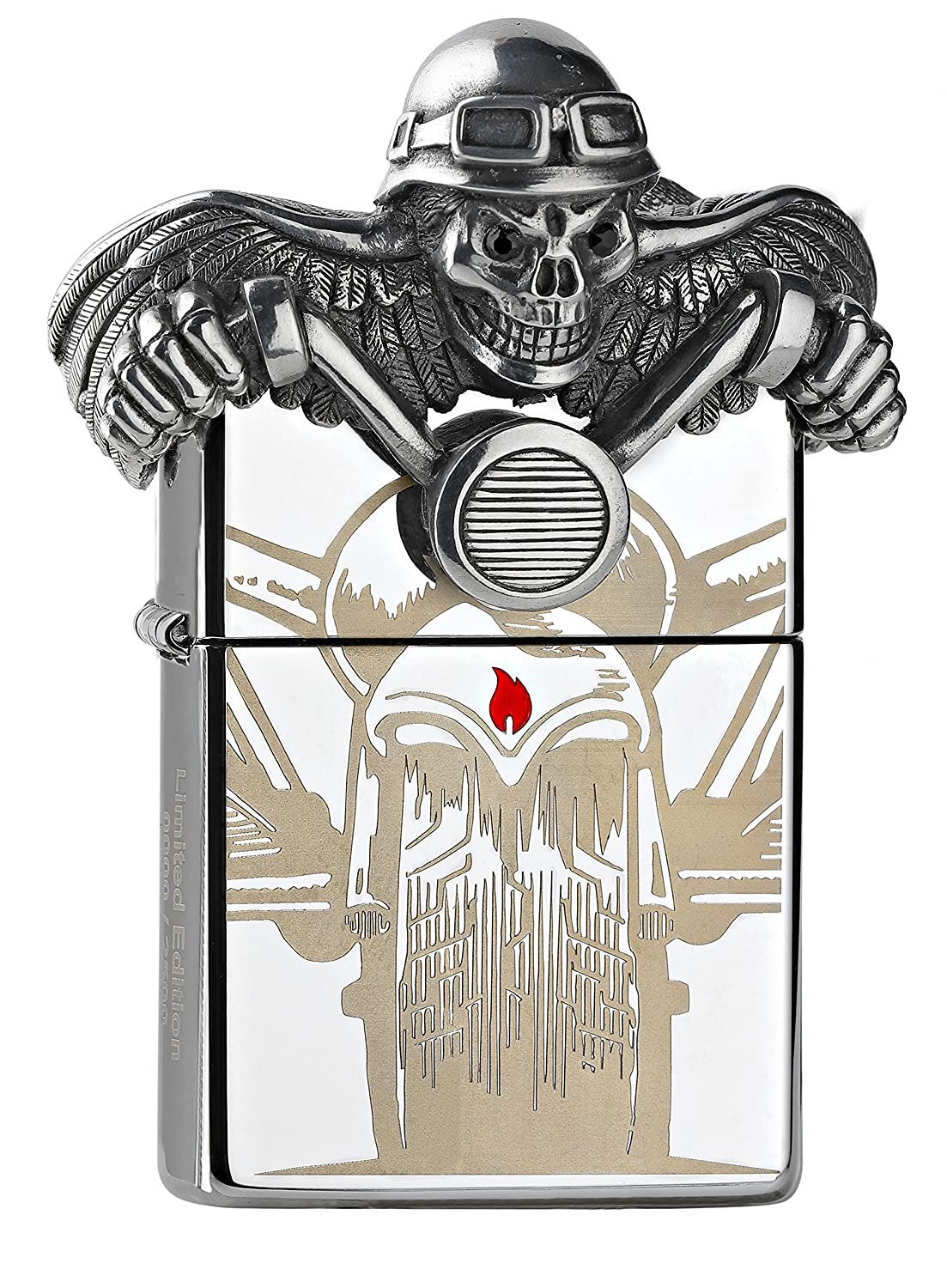Zippo Death Rider - Limited Edition 2500 Pieces-Chrome High Polished-Special Collection 2017 Sturmfeuerzeug, Silber, 6 x 4 x 2 cm