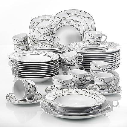VEWEET 60-Piece Ceramic Dinnerware Set Ivory White Irregular Patterns Plate Sets Kitchen Plates Saucers  sc 1 st  Amazon.com & Amazon.com | VEWEET 60-Piece Ceramic Dinnerware Set Ivory White ...