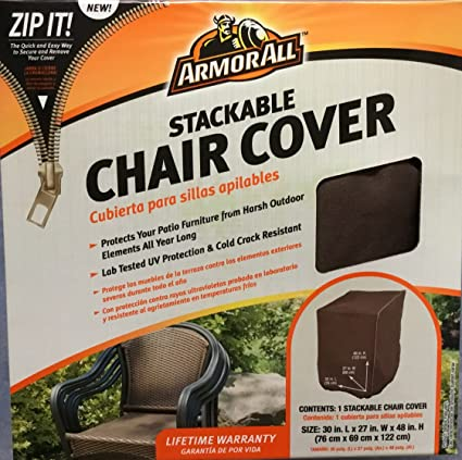 Amazon.com : Armor All 30 x 27 x 48 Stacking Chair Cover, Brown ...