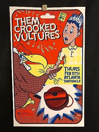 them crooked vultures rare original atlanta concert tour poster feb 11 2010 foo fighters