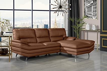 divano roma furniture living room leather sectional sofa l shape couch with chaise lounge - Leather Sectional Sofa