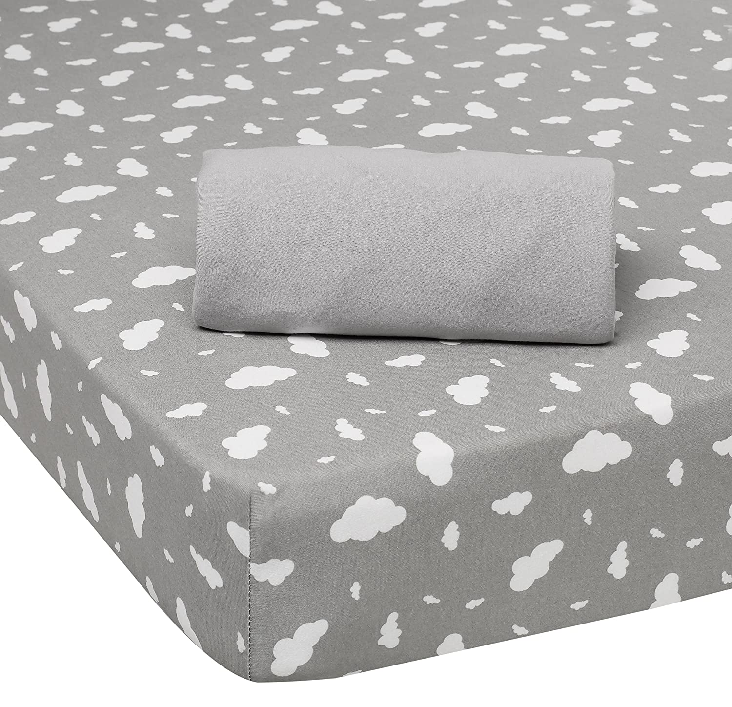 Moda Design Pouf.Moda De Casa Clouds Sheet Pair Cot Bed Grey Cotton 140 X