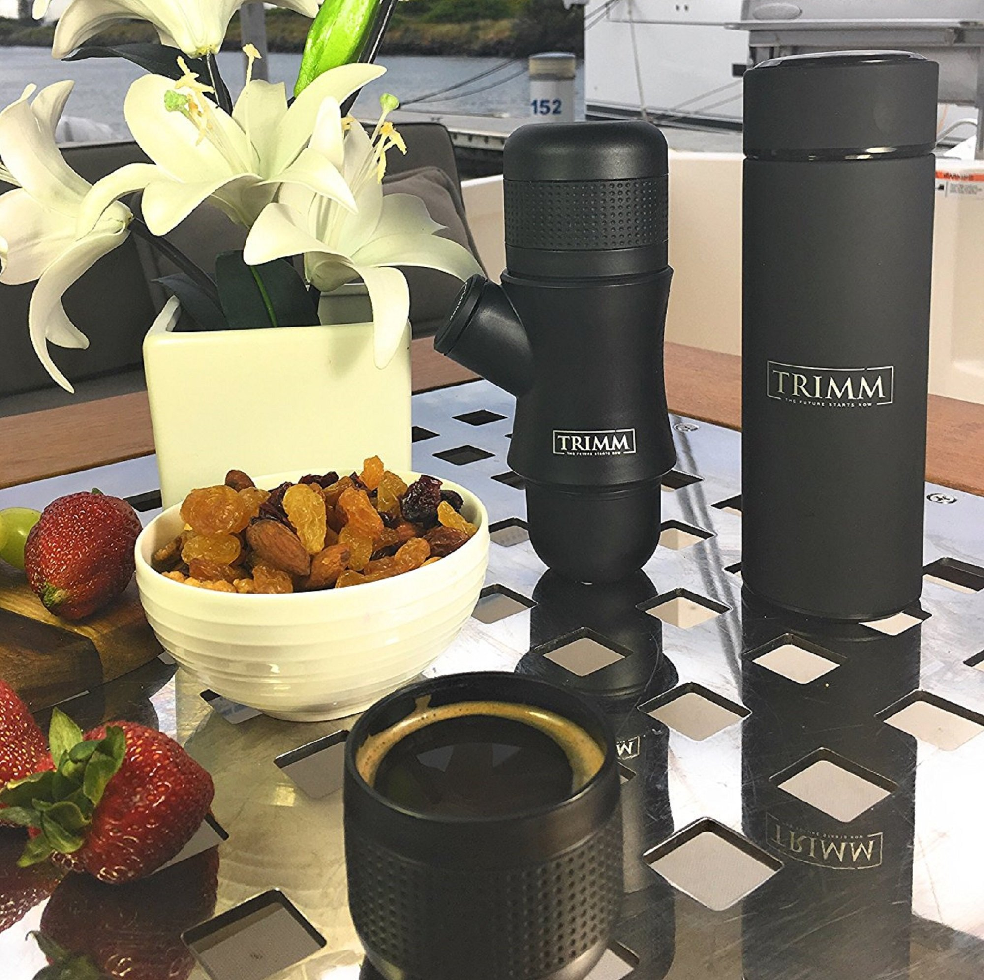 Trimm Portable Hand Held Espresso Machine and Thermos Vacuum Insulated Double Wall | Portable Espresso Maker and Flask | Single Cup Coffee Maker and Tea Thermos Bottle | Travel Set Great Gift Idea by TRIMM THE FUTURE STARTS NOW (Image #7)
